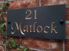 Slate house name sign – 300mm x 150mm; 11.8 inches x 5.9 inches